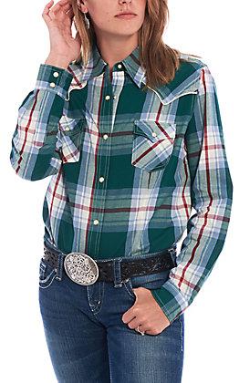 Wrangler Women's Green Plaid Long Sleeve Western Shirt