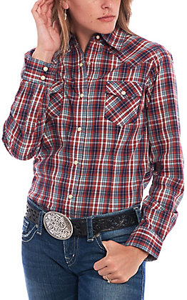 Wrangler Women's Red & Blue Plaid Long Sleeve Western Shirt
