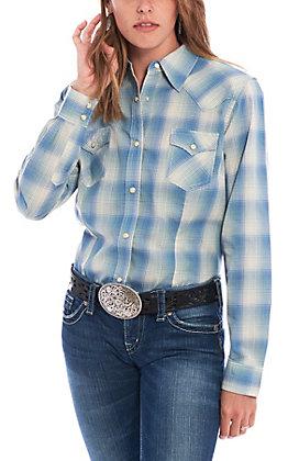 Wrangler Women's Blue Plaid Long Sleeve Western Shirt