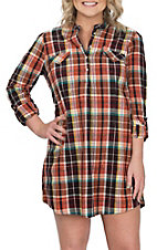Wrangler Women's Rust Plaid Western Tunic Dress
