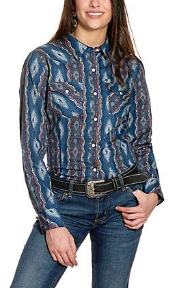 Wrangler Retro Women's Navy Aztec Print Long Sleeve Western Shirt