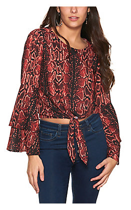 Wrangler Retro Women's Red and Black Snake Print Bottom Tie with Tiered Long Bell Sleeves Top
