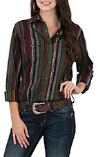 Wrangler Women's Multi-Color Dobby Stripe Woven Western Snap Shirt