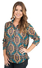 Wrangler Women's Teal and Cranberry Print with Hi Lo Hem Long Sleeve Fashion Shirt