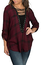 Wrangler Women's Burgundy Tunic w/ Lace Up Neckline Fashion Shirt