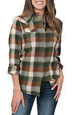 Wrangler Women's Olive Plaid Woven L/S Snap Shirt