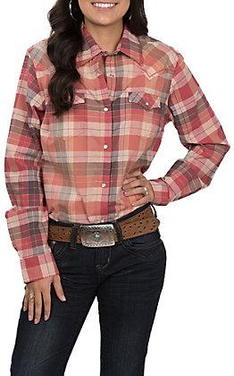 Wrangler Women's Red Plaid Print Long Sleeve Western Snap Shirt