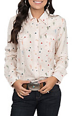 Wrangler Women's Cream Cactus Print Long Sleeve Western Snap Shirt