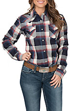 Wrangler Women's Long Sleeve Plaid Western Shirt