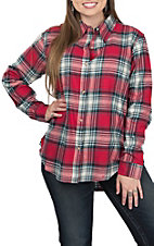 Wrangler Women's Plaid Boyfriend Fit Flannel Button Down