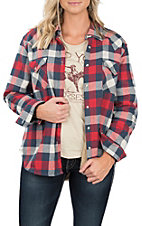 Wrangler Women's Long Sleeve Sherpa Lined Boyfriend Fit Flannel Shirt Jacket