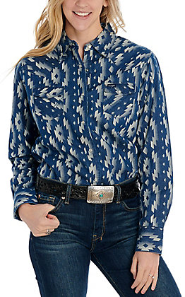 Wrangler Women's Checotah Denim Blue Aztec Print Long Sleeve Western Shirt