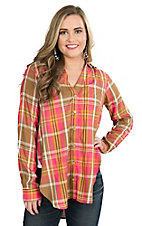 Wrangler Women's Coral and Brown Plaid Long Sleeve Tunic Fashion Top