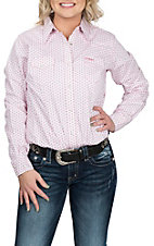 Wrangler Women's Pink Printed Woven L/S Western Snap Shirt