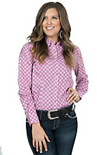 Wrangler Tough Enough To Wear Pink Women's Pink Square Woven Print Long Sleeve Western Snap Shirt