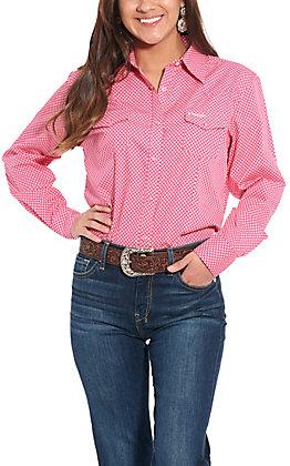 Wrangler Women's Pink Geo Print Long Sleeve Western Shirt