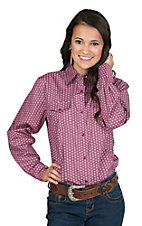 Wrangler Women's Pink and Brown Geo Print with Yokes Long Sleeve Western Snap Shirt