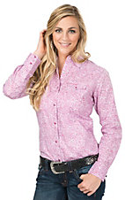 Wrangler Tough Enough To Wear Pink Women's Pink Paisley Print Long Sleeve Snap Shirt