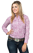 Wrangler Women's White with Pink Paisley Long Sleeve Western Shirt