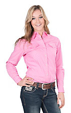 Wrangler Women's Tough Enough To Wear Pink Star Print Long Sleeve Western Snap Shirt
