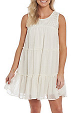 Women's Wrangler Ivory Sleeveless Crochet Bodice Dress