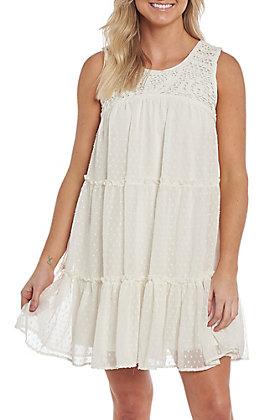 Women's Wrangler Ivory Sleeveless Crochet Bodice Dress