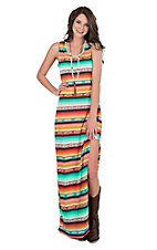 Wrangler Women's Coral and Mint Aztec Print Sleeveless Maxi Dress