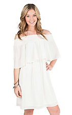 Wrangler Women's White with Ruffled Top Elastic Neckline 1/2 Sleeve Dress