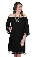 Wrangler Women's Black with Tassel Details and Elastic Neckline 3/4 Sleeve Dress