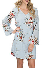 Wrangler Women's Light Blue Floral Print L/S Dress