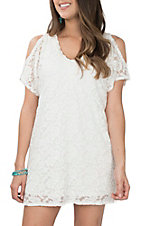 Wrangler Women's White Short Sleeve Cold Shoulder Lace Dress