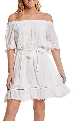 Wrangler Women's White Off the Shoulder Dress