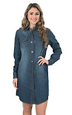 Wrangler Women's Denim with Steer Head Snaps Long Sleeve Shirt Dress