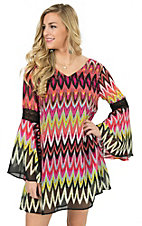 Wrangler Women's Fuchsia, Yellow & Black Chevron Print Long Sleeve Chiffon Dress
