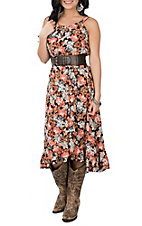 Wrangler Women's Brown Floral Sleeveless Ruffled Belted Hi-Lo Maxi Dress
