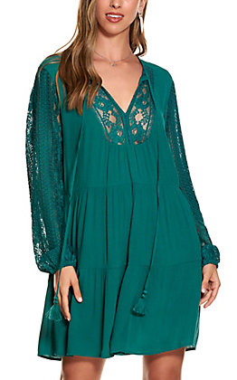 Wrangler Retro Women's Teal with Lace Bib and Long Sleeves Tiered Dress