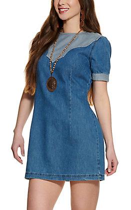 Wrangler Retro Women's Denim Retro Yoke Short Sleeve Dress