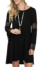 Wrangler Women's Black Crochet Accented Long Bell Sleeve Dress