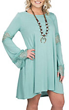 Wrangler Women's Aqua Long Sleeve w/ Crochet Dress
