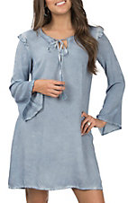 Wrangler Women's Blue Indian Denim Bell Sleeve Dress