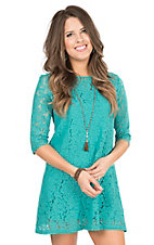 Wrangler Women's Turquoise Lace 3/4 Sleeve Dress