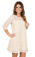 Wrangler Women's Cream Lace 3/4 Sleeve Dress