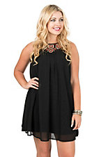 Wrangler Women's Black with Red and Gold Embroidery Sleeveless Dress