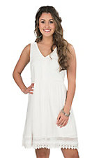 Wrangler Women's White with Crochet Details Sleeveless A-Line Dress