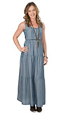 Wrangler Women's Denim with Tiered Skirt Sleeveless Maxi Dress