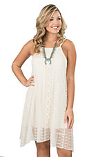 Wrangler Women's Cream Crochet Sleeveless Dress