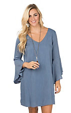 Wrangler Women's Denim Blue V-Neck and Long Bell Sleeve Flutter Dress