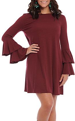Wrangler Women's Burgundy Bell Sleeve Knit Dress