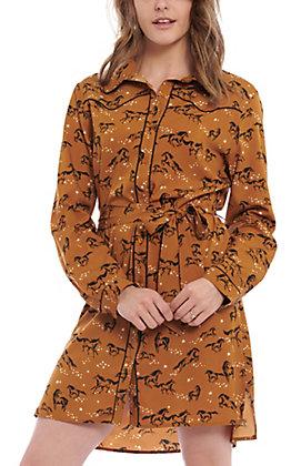 Wrangler Women's Gold Horse Print Long Sleeve Western Dress