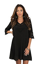 Wrangler Women's Black 3/4 Sleeve Crochet Trim Dress